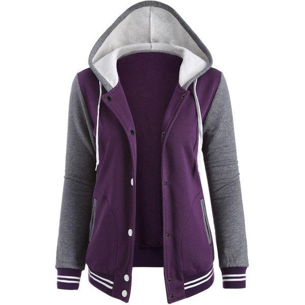 Varsity Baseball Fleece Hoodie Jacket (84 BRL) ❤ liked on Polyvore featuring outerwear, jackets, fleece jacket, purple fleece jacket, fleece baseball jacket, baseball jacket and purple jacket