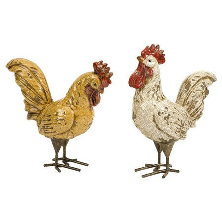 Beautiful Set Of Two Ceramic Rooster Statues.Product: Small And Large Statue  Construction Material: