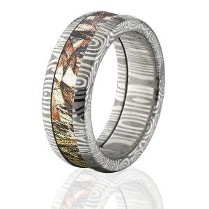 8mm Duck Blind Camo Rings, Duck Blind Camo Bands, Damascus Steel Camo