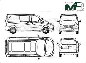 Mercedes Benz Vito Mixto Compact Version One Sliding Door Rear Double Doors 2003 2d Drawing Blueprints Mercedes Benz Peugeot Daihatsu