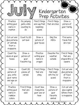Photo of July Kindergarten Prep Activities