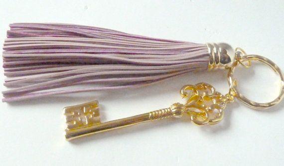 Tassel and key fob in pink Key fob key chain handbag or by SueSouk, $15.75