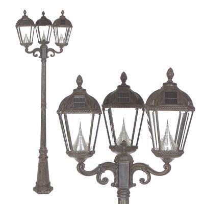 Gama Sonic   Royal Solar Lamp Post, Triple Lamp, Weathered Bronze     Home  Depot Canada