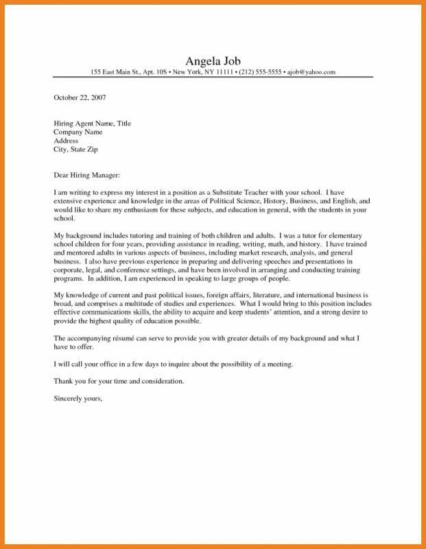 cover letter for substitute teacher