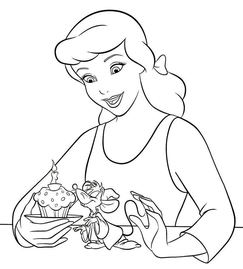 Cinderella Makes Cupcake Coloring Page | Disney coloring ...