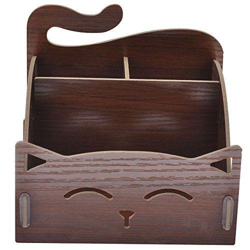 Ayliss® DIY Holz Multifunktion Aufbewahrung Aufbewahrungsbox Aufbewahrungsregal Kosmetikorganiser Tischorganizer Schreibtisch Regal, Katze Motiv