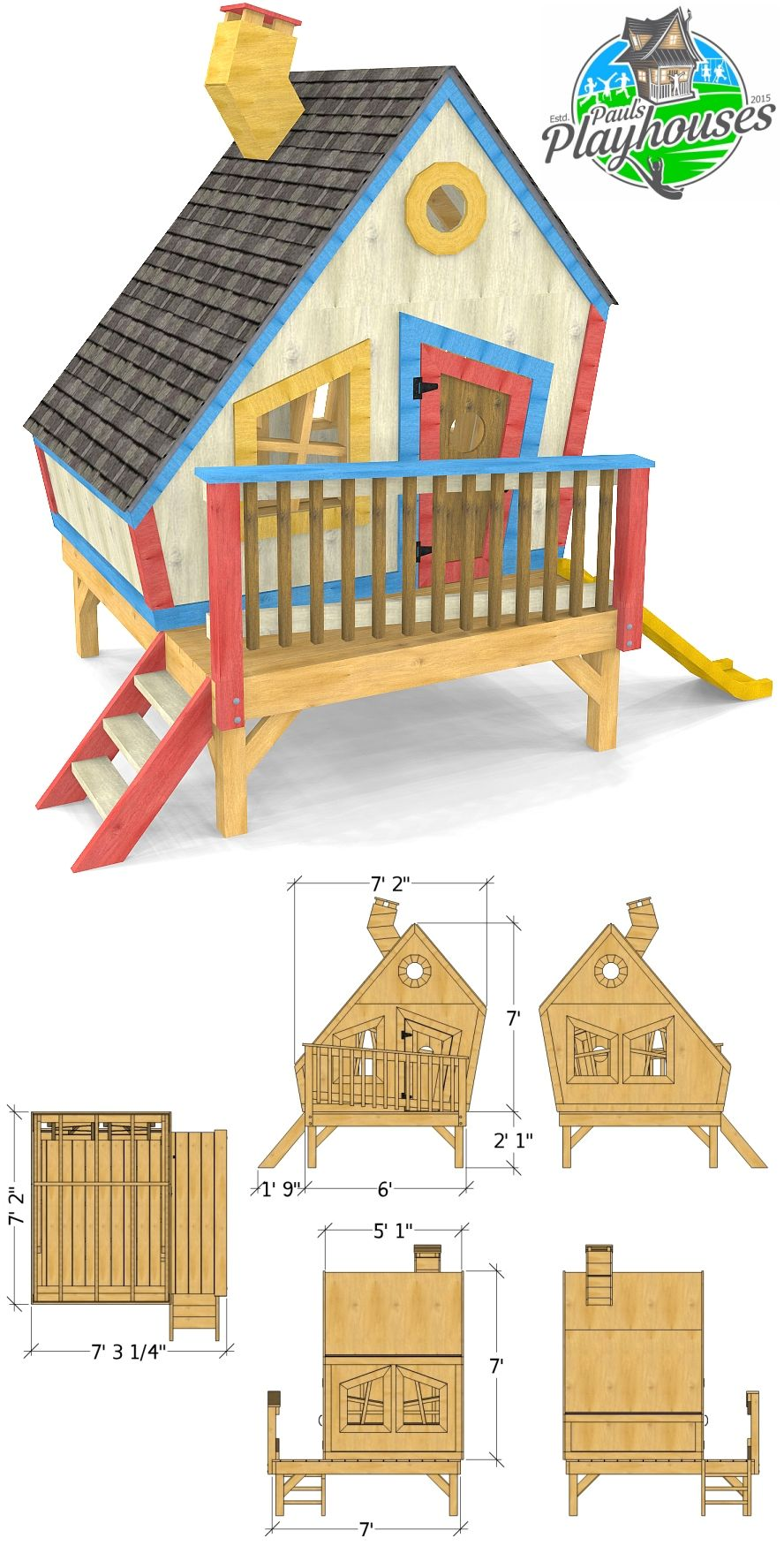 Looney Lodge Playhouse Plan (2‑Sizes) in 2020 | Play ...