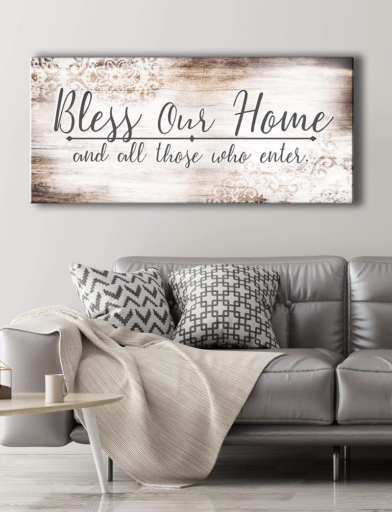 christian wall art bless our home wood frame ready to on wall art decor id=38085