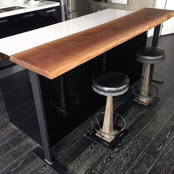 Portable Bar Top Extension Featuring Steel Legs And A Walnut Top