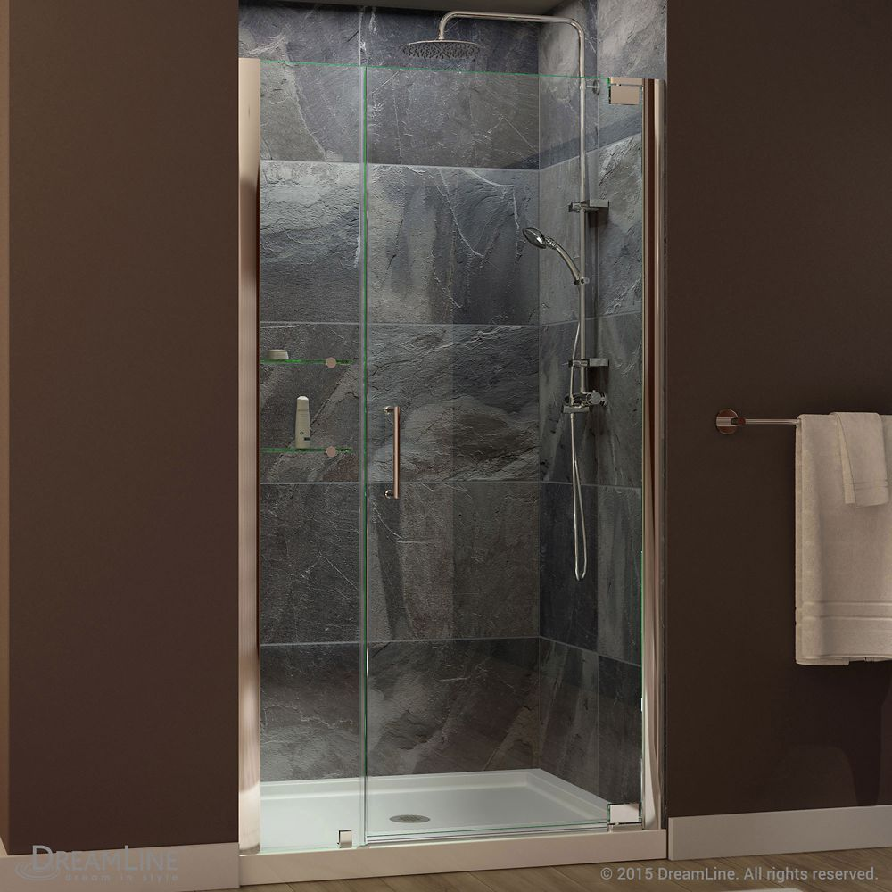 Elegance 42 1 2 Inch To 44 1 2 Inch X 72 Inch Semi Frameless Pivot Shower Door In Chrome Shower Doors Custom Glass Glass Shelves