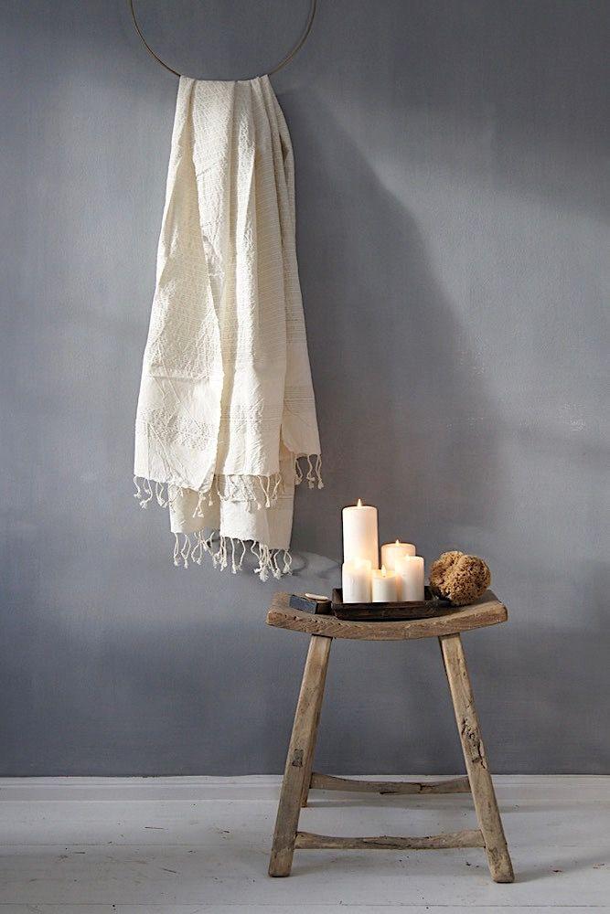 Bathroom Bath Hammam Towel Linen Badezimmer Bad Badetuch Hamam Hamamtuch Stool Wood Anci Rauminspiration Bad Inspiration Hocker Holz