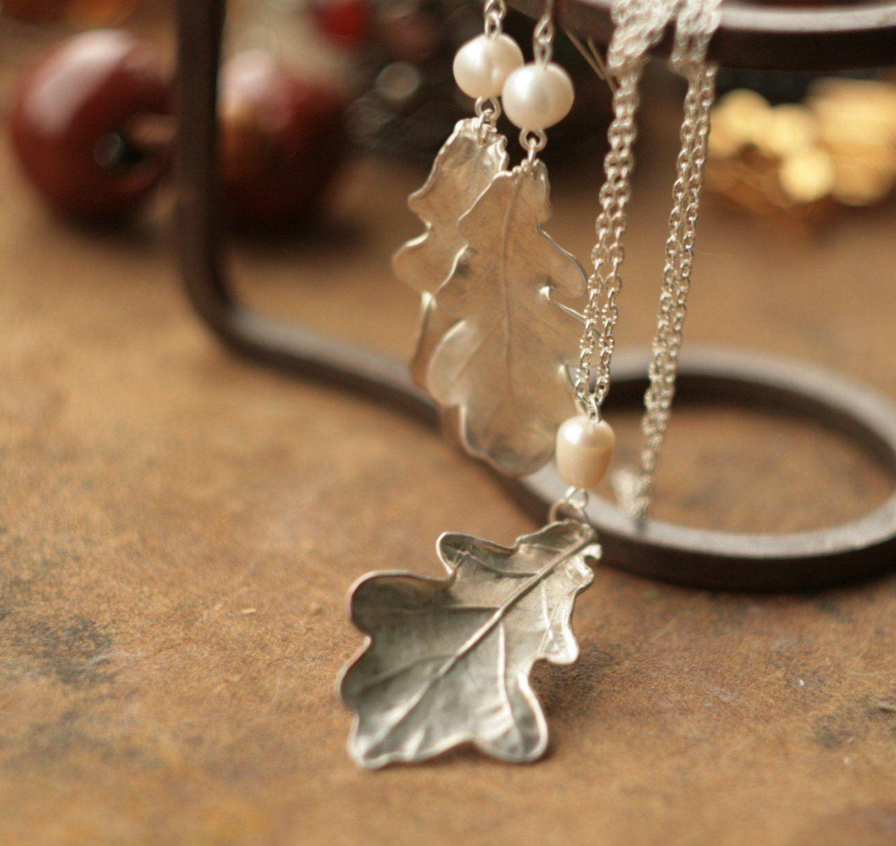 pearls silverplated pendant Silver oak leaves set electroplated electroformed natural leaf elf fairy elven earrings electroforming