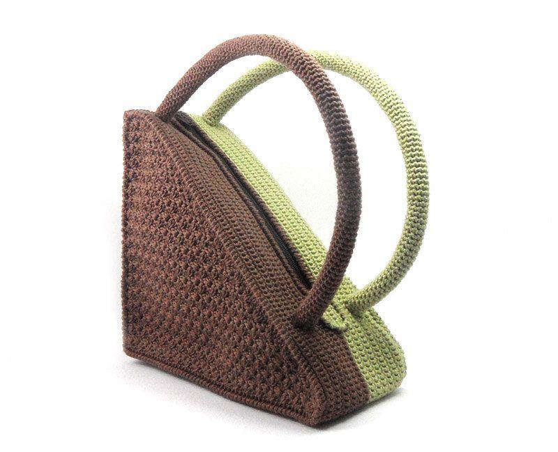 Crochet Triangle Bag, Brown High Fashion Geometric Olive Cotton, Spring Summer