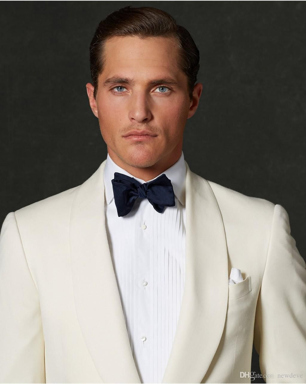 Handsome Ivory And Navy Slim Fit Groom Tuxedos Custom Made Men ...