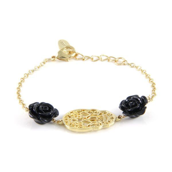 Black Colored Rose Chain Bracelet with Lace Skull Outline Charm
