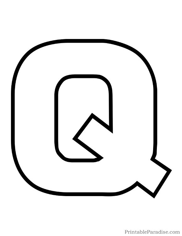 graphic relating to Letter Q Printable referred to as Printable Letter Q Determine - Print Bubble Letter Q