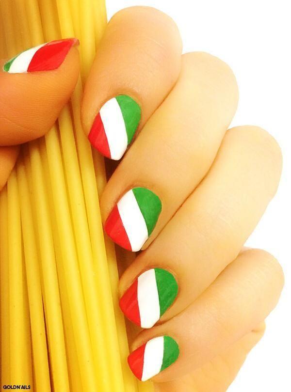Italy flag nails italy nail art | Gel Nail Designs | Pinterest ...