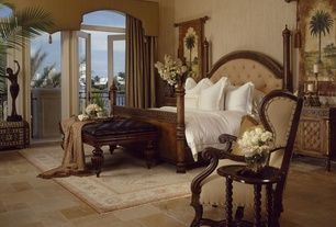 Tropical Master Bedroom with Transom window, ceramic tile floors, Window treatment, interior wallpaper, Wall paper