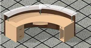 Curved desk dwg autocad drawing for sketchup and autocad