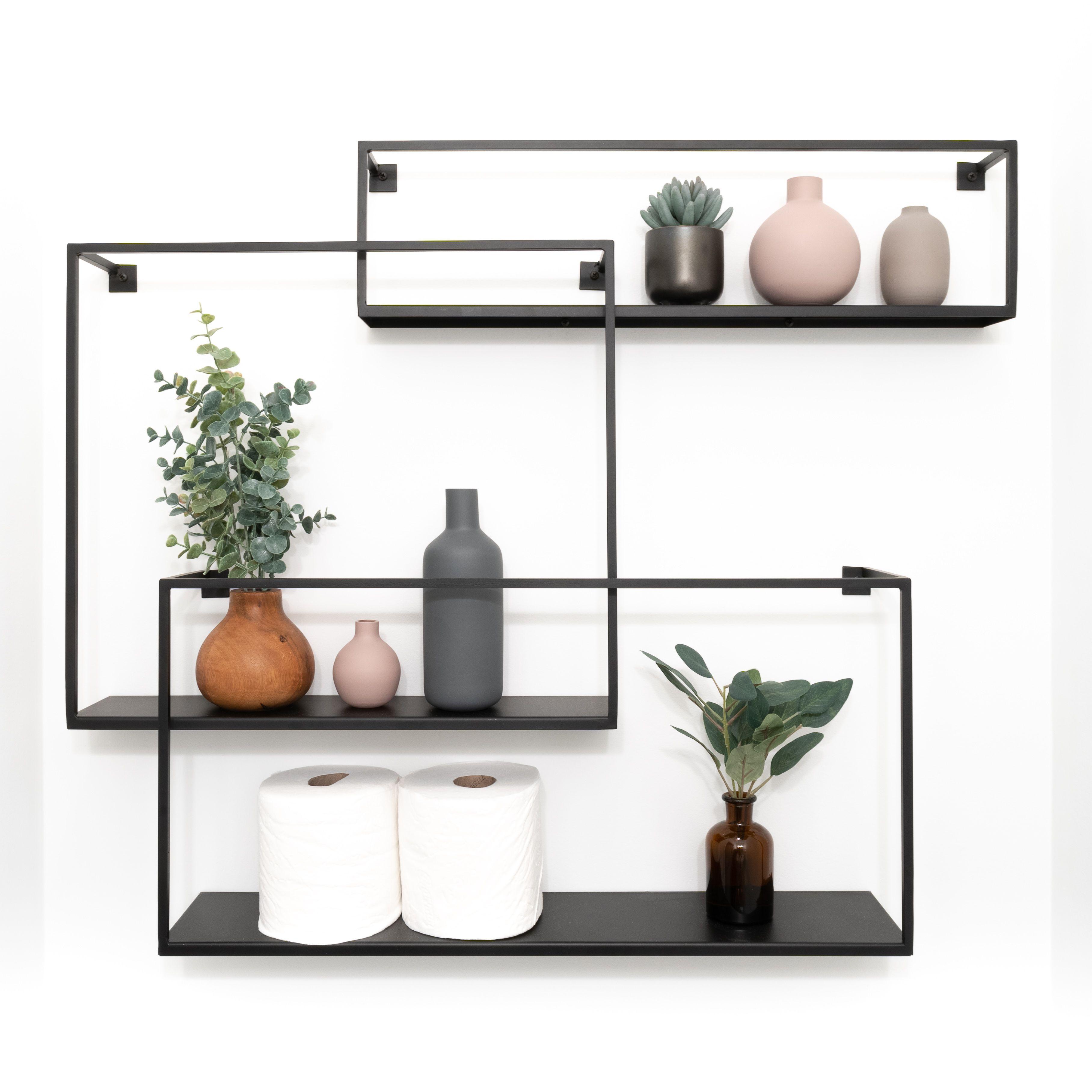 Matte Black Cb2 Floating Shelves Powder Room Modern Shelf Decor