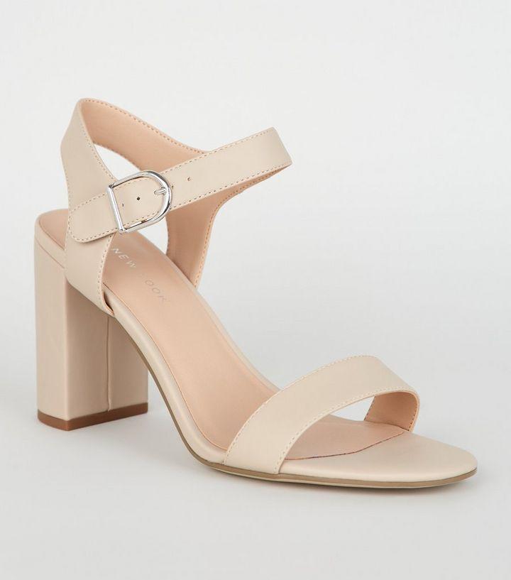 Cream Leather Look 2 Part Block Heel Sandals | Shoe crush in