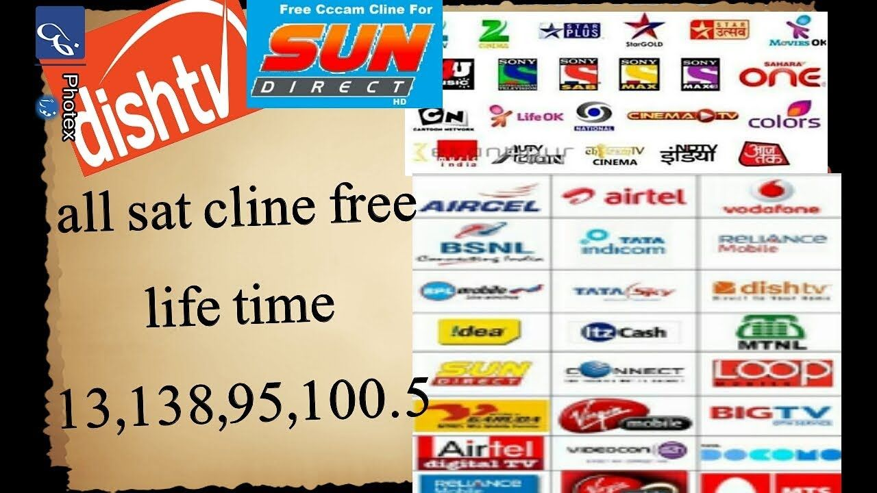 dish tv big tv sun hd sky free cccam Cline server liftime 34