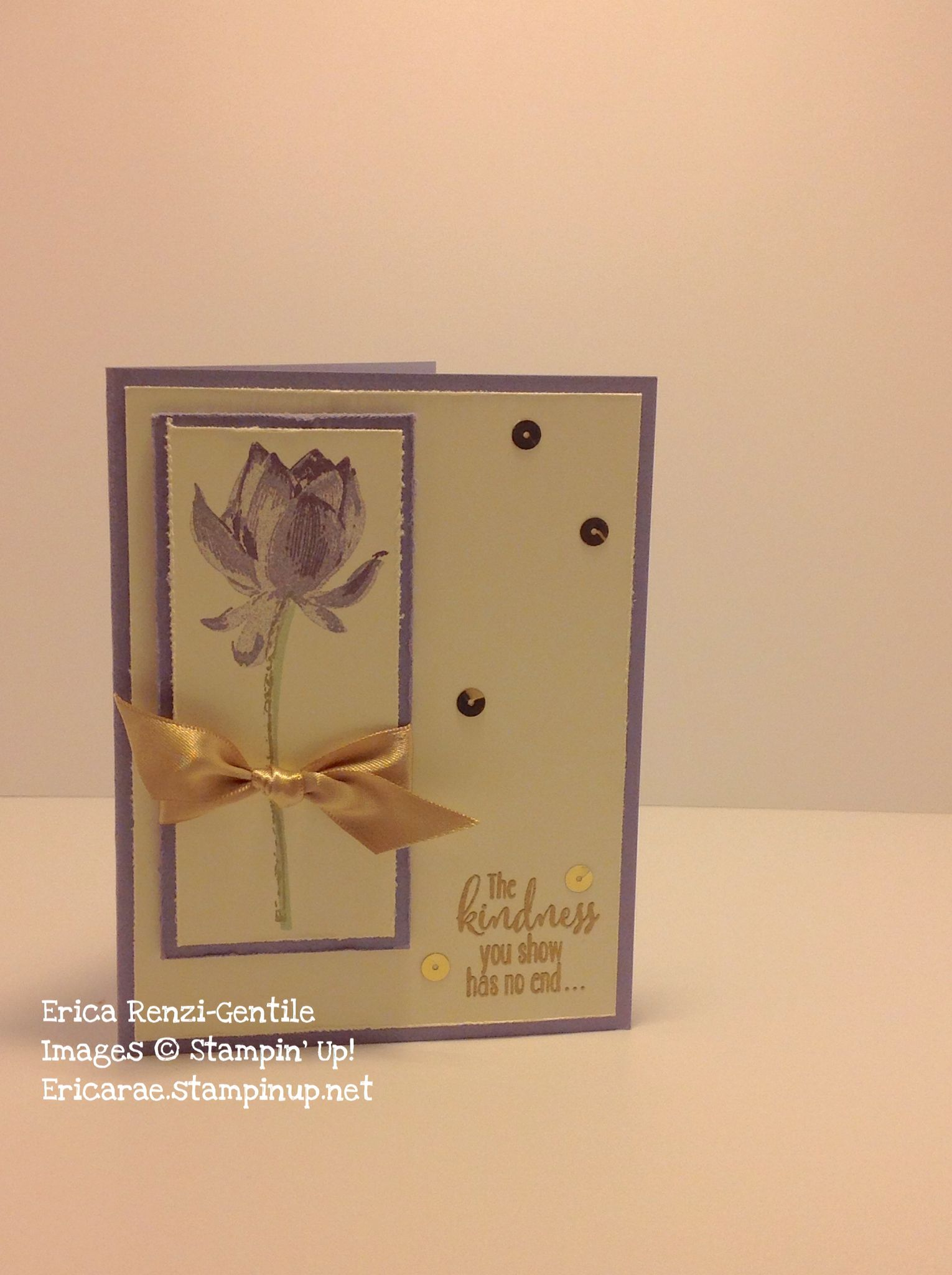 A sneak peek at the new stamp set called Lotus Blossom. This card features wisteria wonder and perfect plum inks as well as gold ribbon and sequin trim. The sentiment is heat embossed with gold powder.