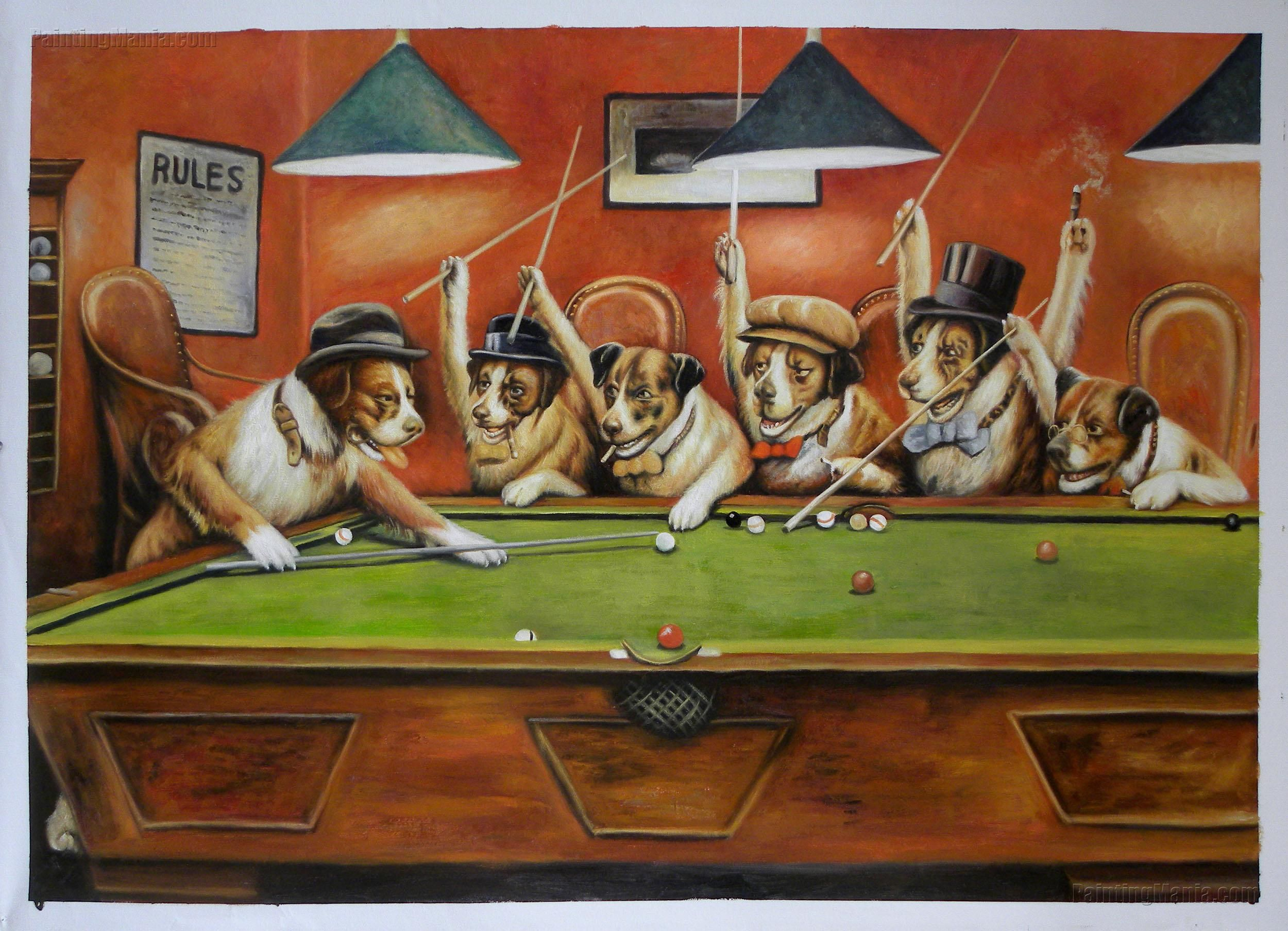 Dogs Playing Pool By Cassius Marcellus Coolidge