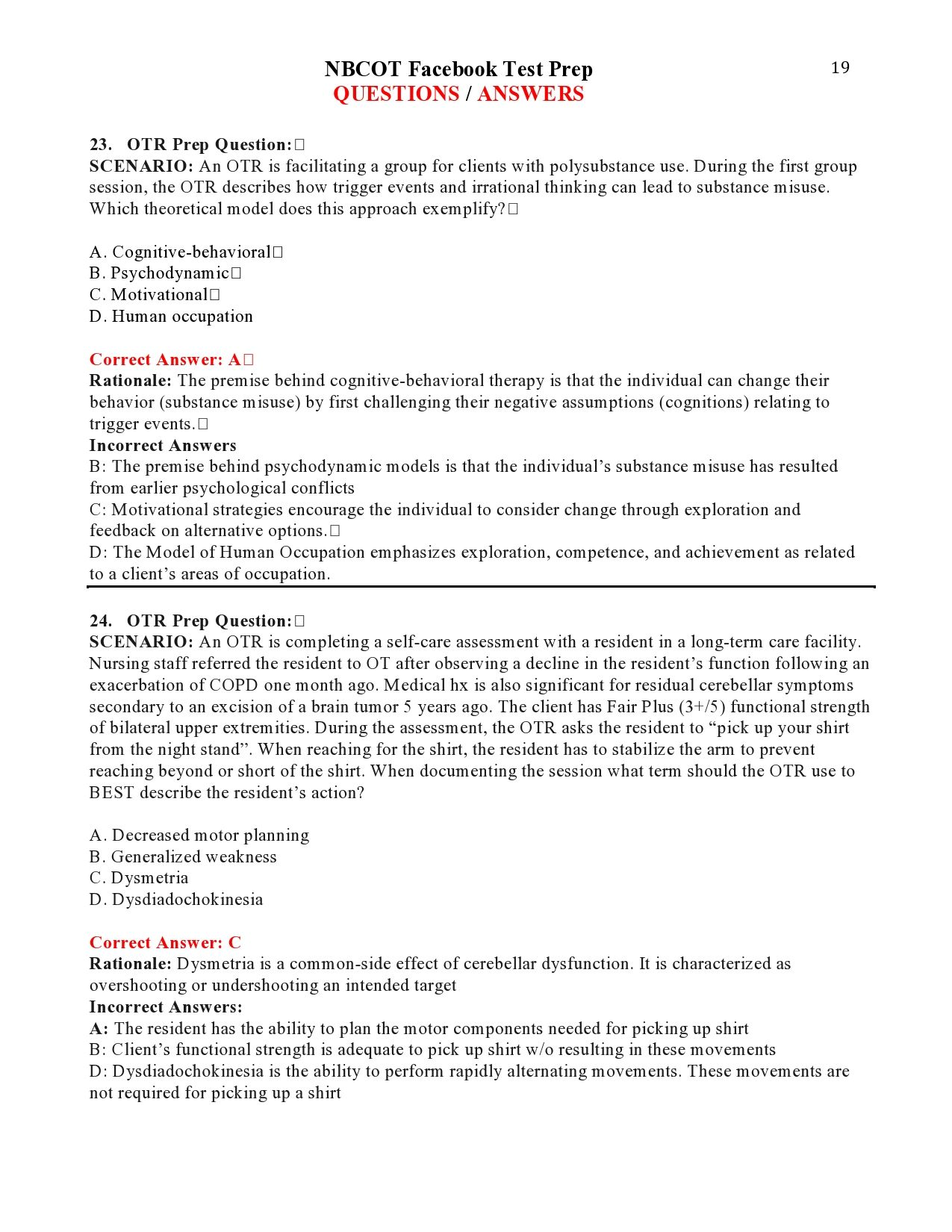 Nbcot Facebook Test Prep Questions Answers Page 19