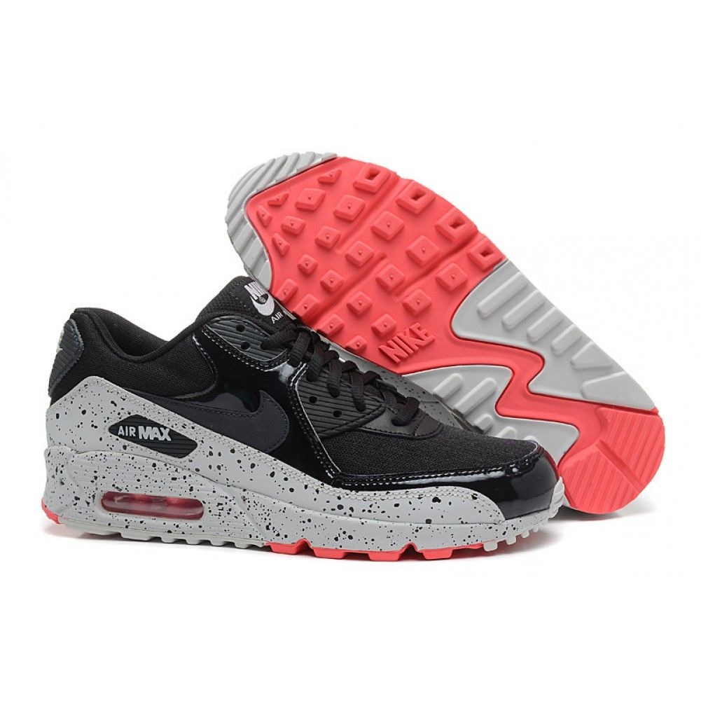 nike womens air max 90 black and red shoes 607a nz
