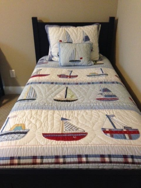 Pottery Barn Kids Sail Away Boat Sailboat Nautica Nautical Twin Quilt Set Nautical Twin Quilts Twin Quilt Ocean Bedding