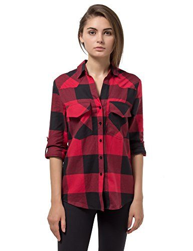 74fc0df7 Womens Plaid Flannel Shirt Red Black Checkered Long Sleeve Cotton Shirts M  >>> Read more at the image link.Note:It is affiliate link to Amazon. #WearIT