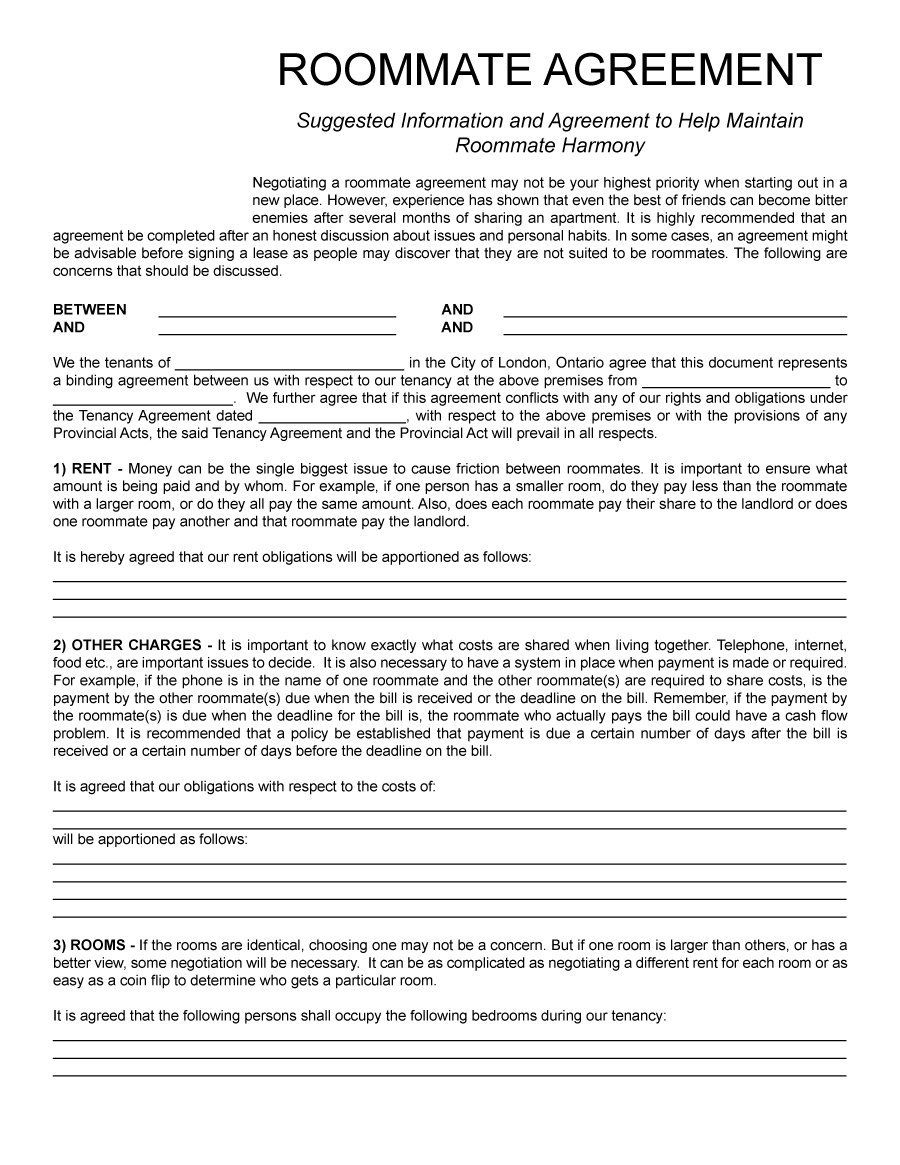 Roommate Agreement Template   Lease    Roommate
