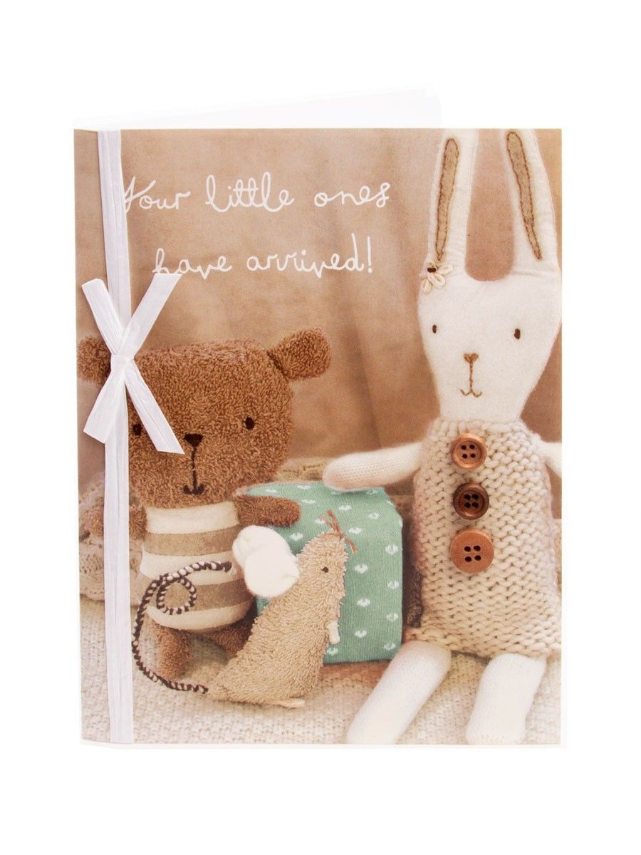 Cute Soft Toys New Born Twins Card Cards Beautiful Greeting Cards Anniversary Cards
