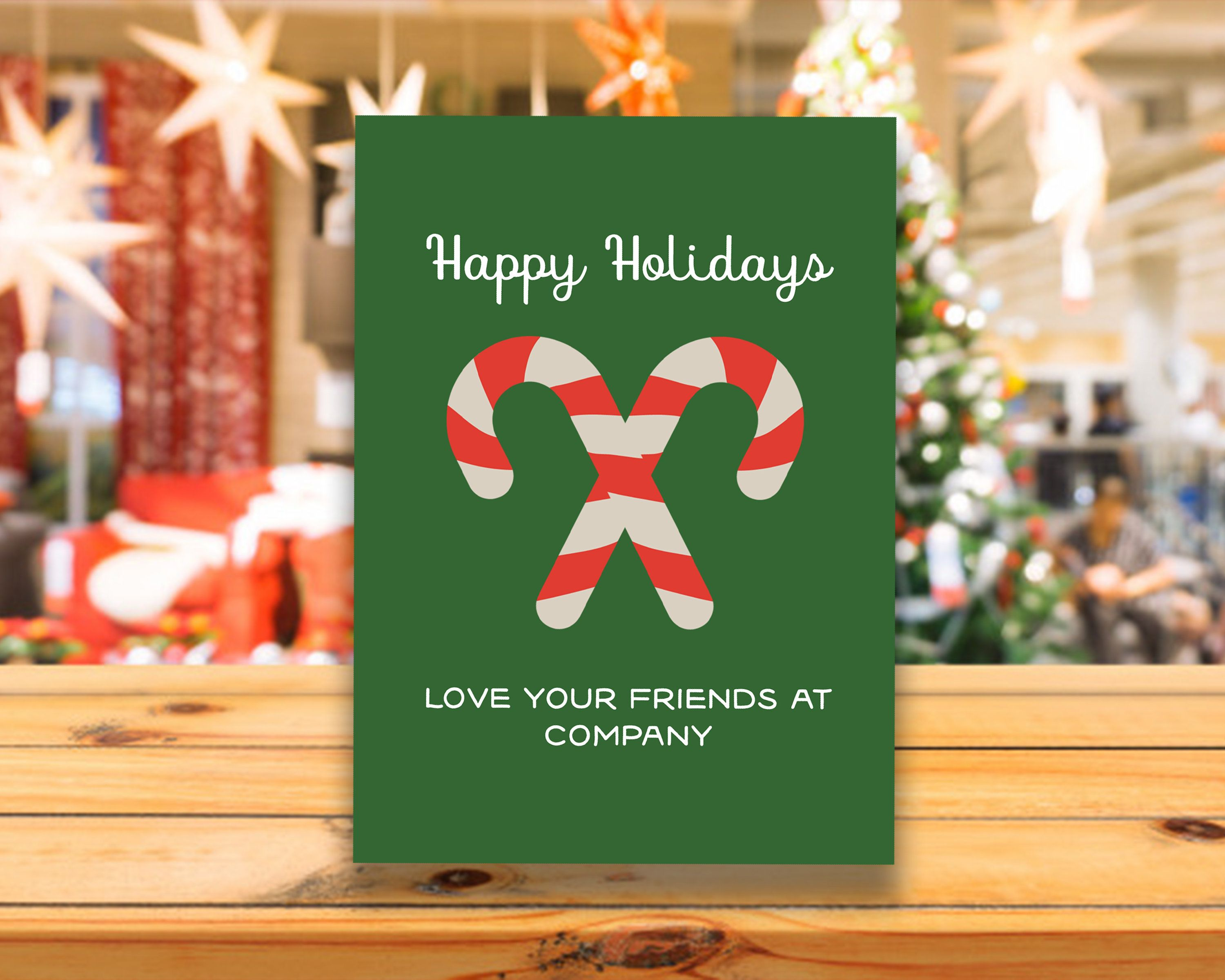 Happy Holidays Candy Cane Company Corporate Christmas Card Mailer or Postcard