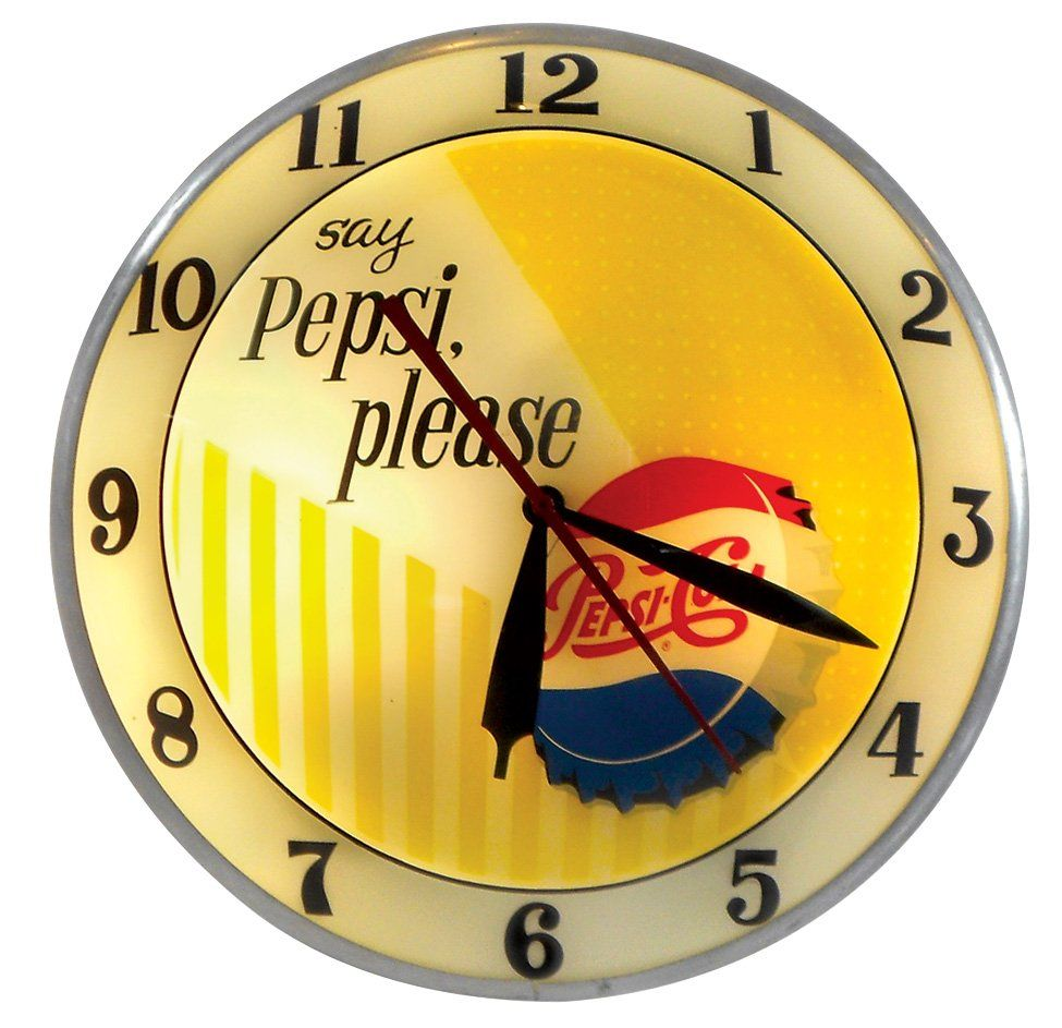 Pepsi Cola Double Bubble Clock Mfgd By Advertising