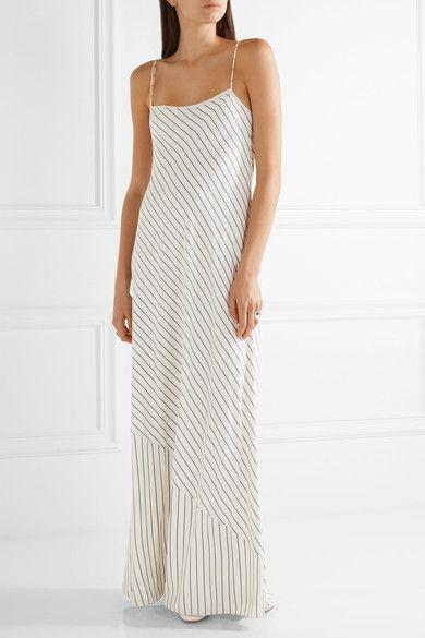 The Row - Streb striped silk crepe de chine maxi dress