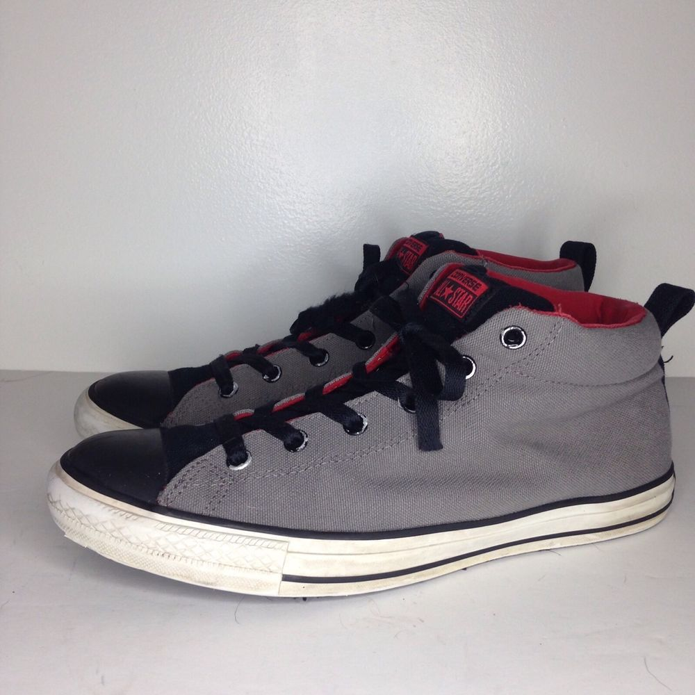 306c87b3cd17 CONVERSE CHUCK TAYLOR All Star HIGH MEN S SHOES Gray Black Red sz 11   Converse  FashionSneakers
