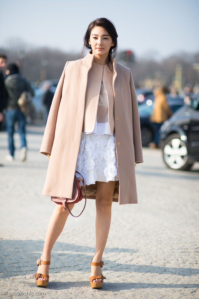 Pink Coat and Flower Applique Skirt, Outside Chloe #streetstyle ...