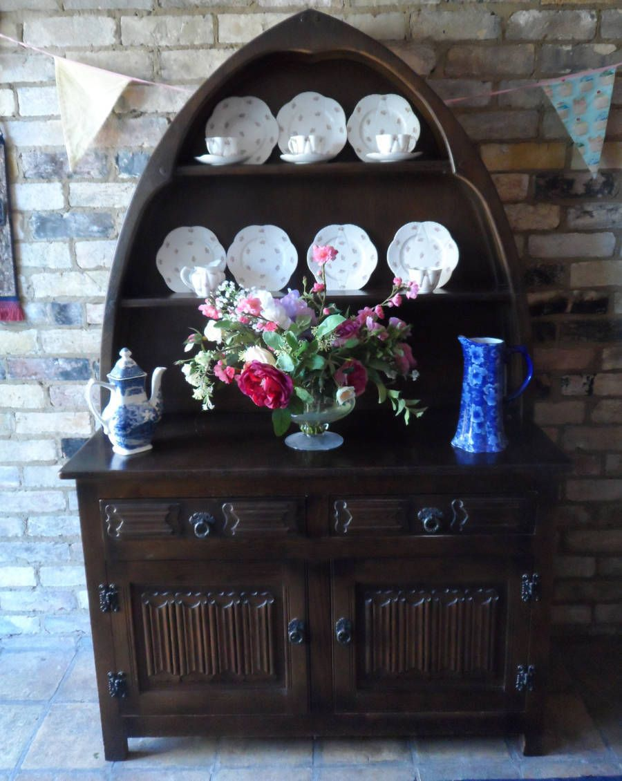 Genuine Wood Bros Old Charm Arched Top Linenfold Dresser   £150 UK Mainland  Delivery Available