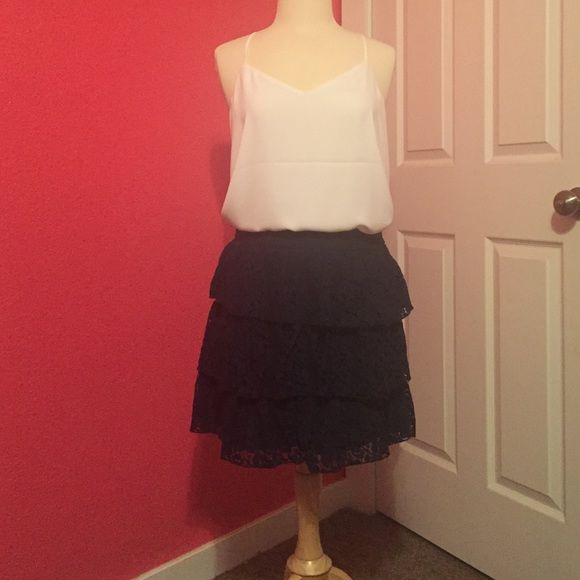 Navy blue lace skirt Babe blue here layer lace skirt. Never worn! Shirt not included Maurices Skirts