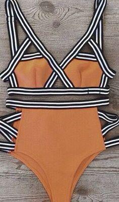 Bikini Color Naranja Con Rayas Blancas Y Negras Trajes De Bano