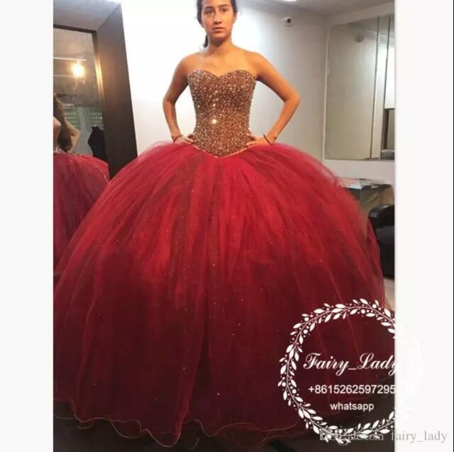 39b6bc803 Vestido De 15 Anos Red Quinceanera Dresses 2018 Bling Gold Crystal Beading Puffy  Ball Gown Long Sweet 16 Dress Prom Formal Gowns