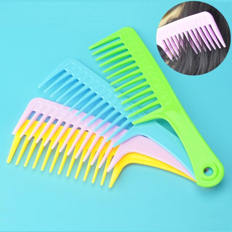 New Fashion Colorful Plastic Hair Comb Wide Teeth Comb Large Hair Brush With Handle Girl Style Hair Tool Unisex Care Wide Tooth Comb Hair Tools Hair Comb