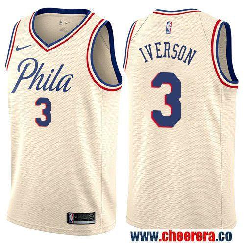 953c5f548 Philadelphia 76ers  3 Allen Iverson Cream Nike NBA Men s Stitched Swingman  Jersey City Edition