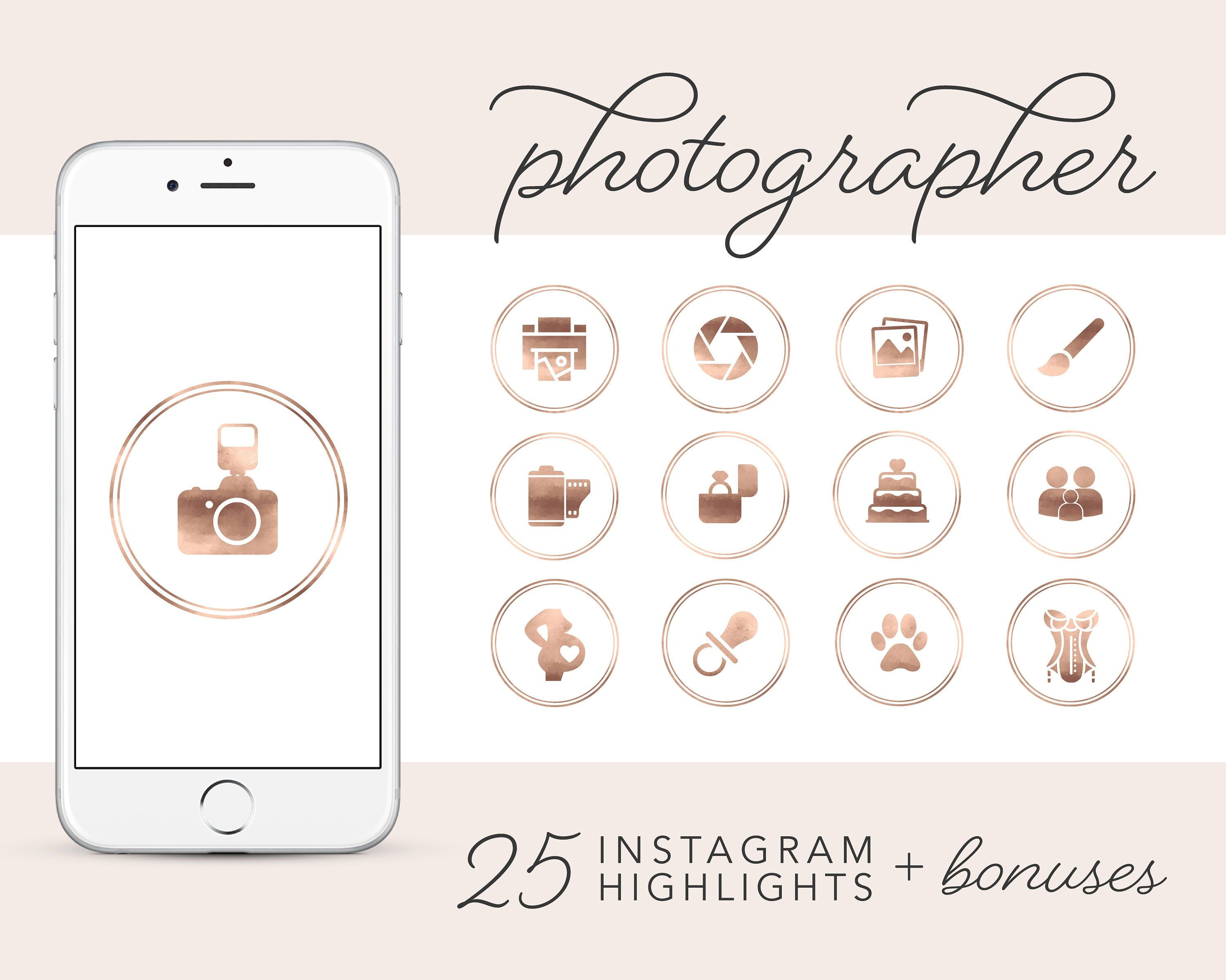 Photographer Instagram Story Highlights Icons, Rose Gold