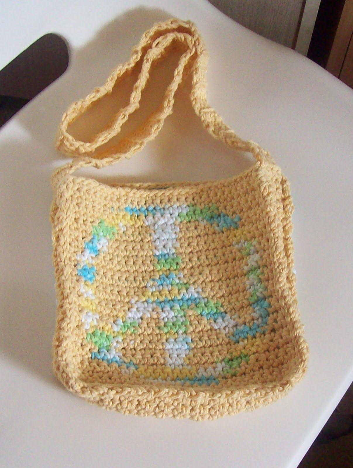 Crochet A Peace Sign Shoulder Bag | Tops de ganchillo y Ganchillo