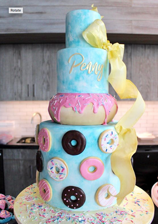 Colorful Donut Themed Birthday Girl Cake On Satinice