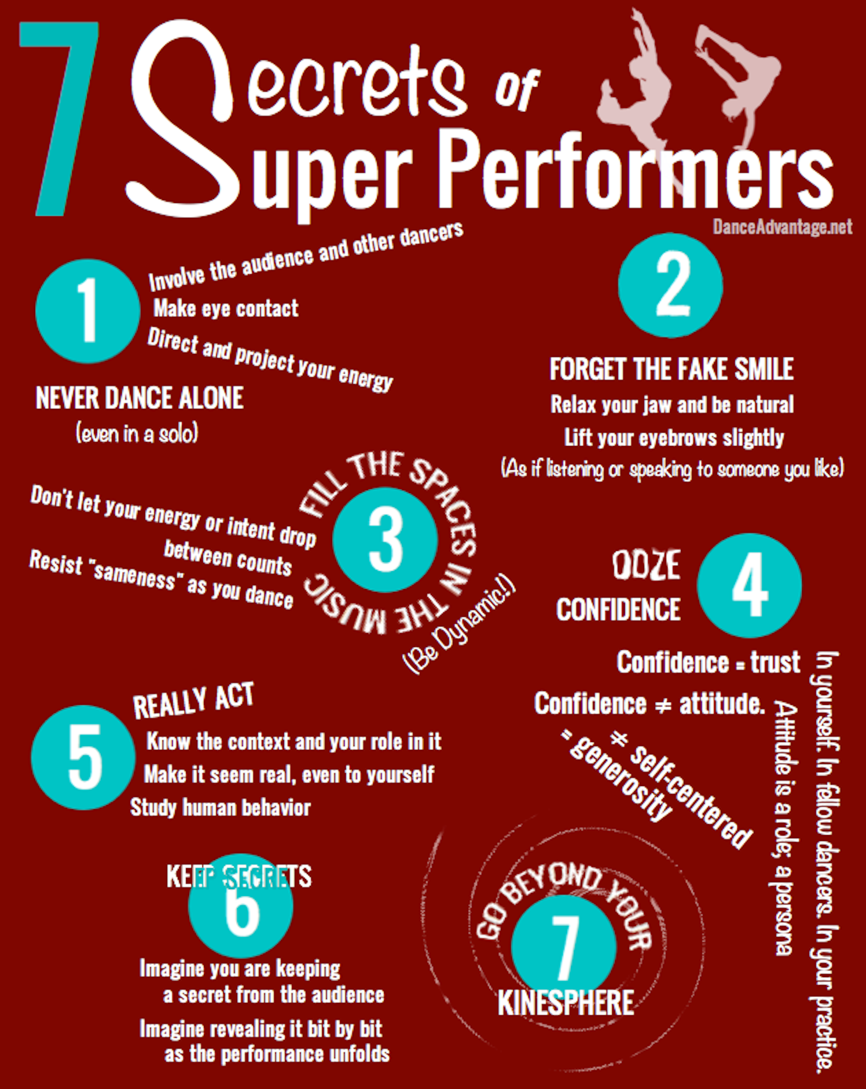 "7 Secrets Of ""Super Performers""---would make a nice dance studio poster for the team and students"