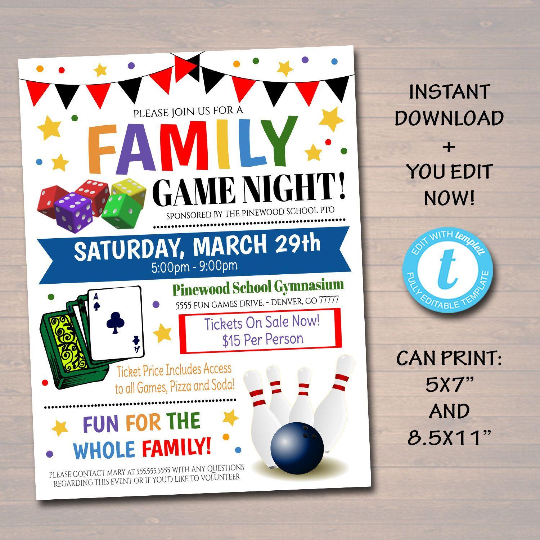 EDITABLE Family Game Night Flyer, Printable PTA PTO Flyer
